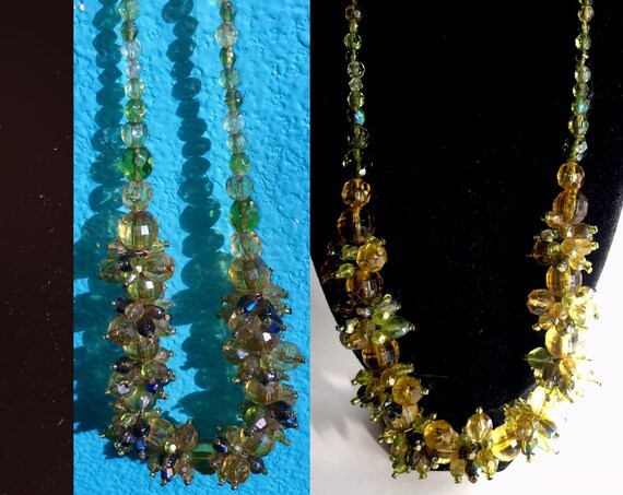 "Mid -Century Lucite, chunky ""Mad Men"",statement necklace, unique sparkling fern green,amber, yellow long strand 19""  free shipping  20.00"