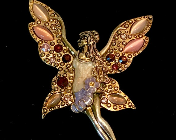 VTG colorful  fairy,pixie,forest nymph,enchanter fairy tale   brooch,pin, gold tone with layered enamel and  rhinestones on a gold tone body