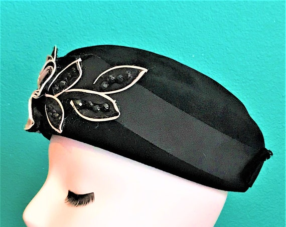 black Italian 60's pillbox, womens hat Firenzia Cathay of California  high fashion ,sophisticated hat! one of a kind, size LG  35.00