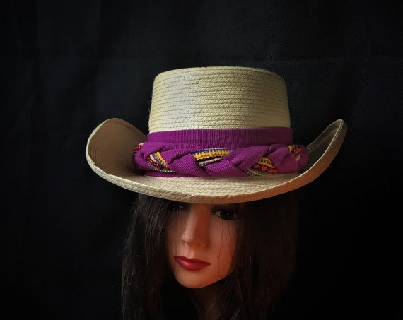 western,cowboy, Santa Fe Guatemalan  women's hat reinforced neutral beige yellow straw women's  cowboy hat with fuchsia band
