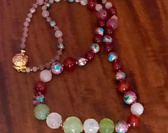 Vintage early 80's  Oriental Jade, Carnelian ,pink quartz, Cloisonne gold beads  very classy,24 inches INVESTMENT      85.00