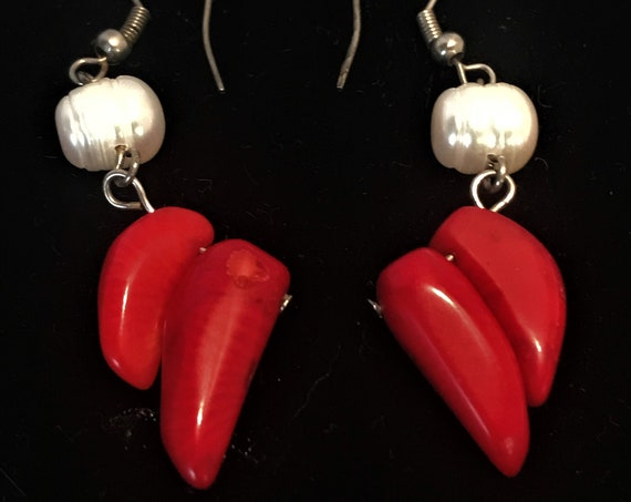 Mid-Century true fresh water pearl  with 2 real red coral pierced drop earrings , 2 inch linear dangle earrings that are feminine and sexy.