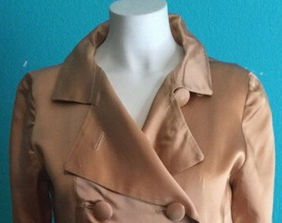 1967 Vogue Runway  Special Formal  Design Gold satin handcrafted double breasted  ankle length one of a kind coat  Size 4       200.00
