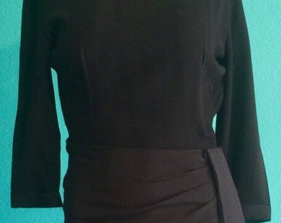 Early 1950's Jonathan Logan Black Dress *Form Fitting ,big black sash , hip minimizing ,gorgeous Size small 55.00