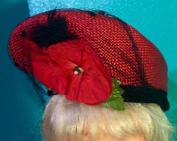 1950's Cherry Red Halo,Facinator  Tam Hat treated straw unique *Red Poppie  accent. Great for spring and summer