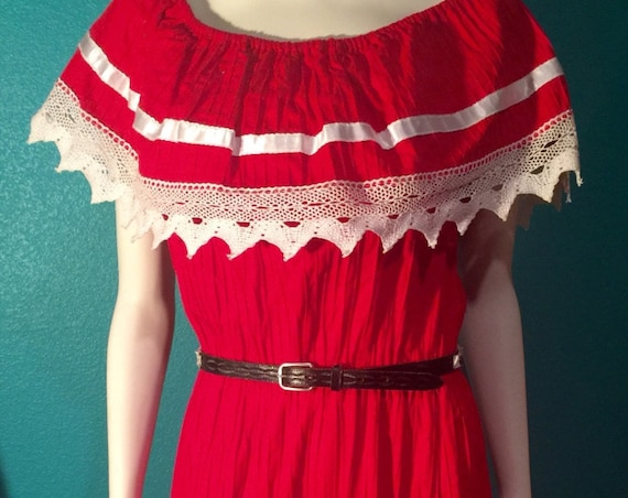 SOUTHWEST vintage, Fiesta Ethnic festival dress. Embroidered cherry red dress.details are incredible! Piece of art BOHO , Med to lg.stretch