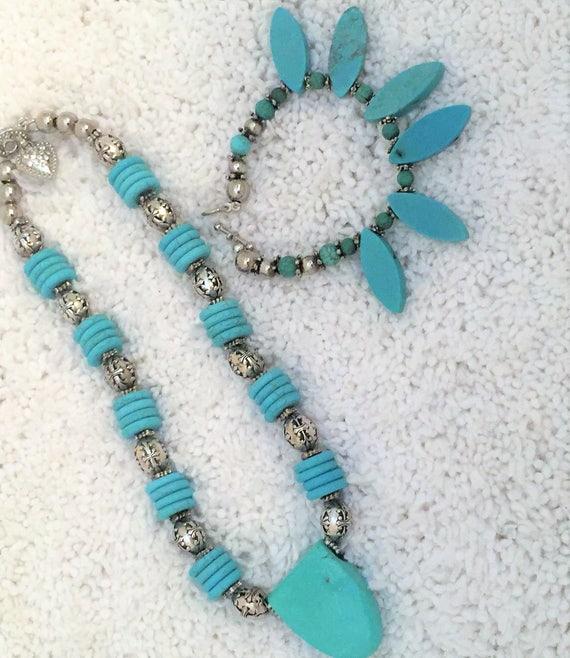 Southwest  Santa Fe made necklace, bracelet, turquoise composite and silver  necklace and bracelet set . 35.00