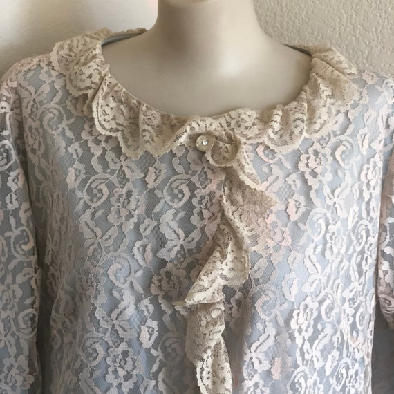 1960's Mid century feminine long button down robe, nighttime wear,Lounge Craft soft blue with beige lace gown