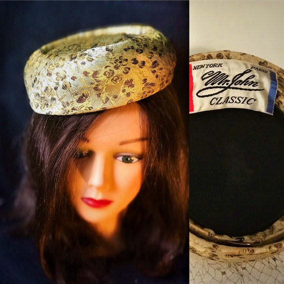 pillbox hat,gold ,brown satin women's hat .true 1950's classic MR. JOHNS creation. wedding, formal, small amount of veil on top. very classy