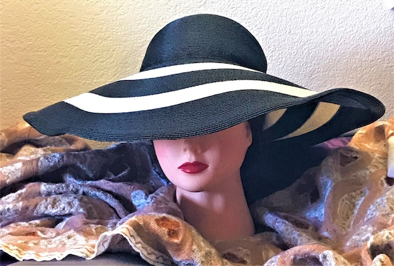 2e041408742eda 1990's Frank Olive extra-wide-floppy black and white summer sun hat,vacation