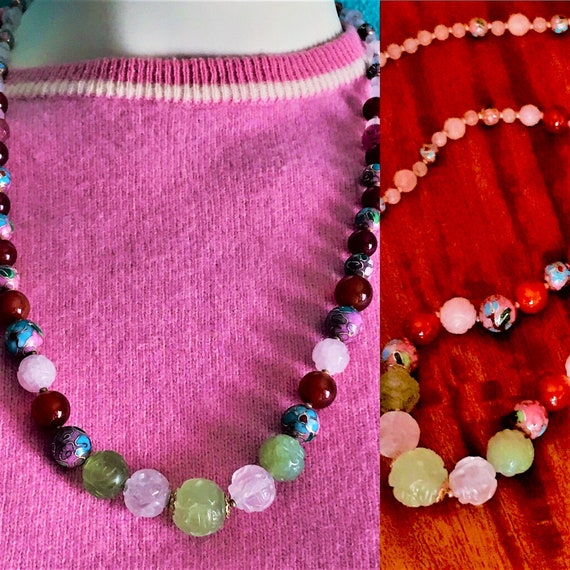 Vintage 1980's Oriental necklace real  jade, carnelian, pink quarts and cloisonné beads with 24 K gold threads running through the beads.
