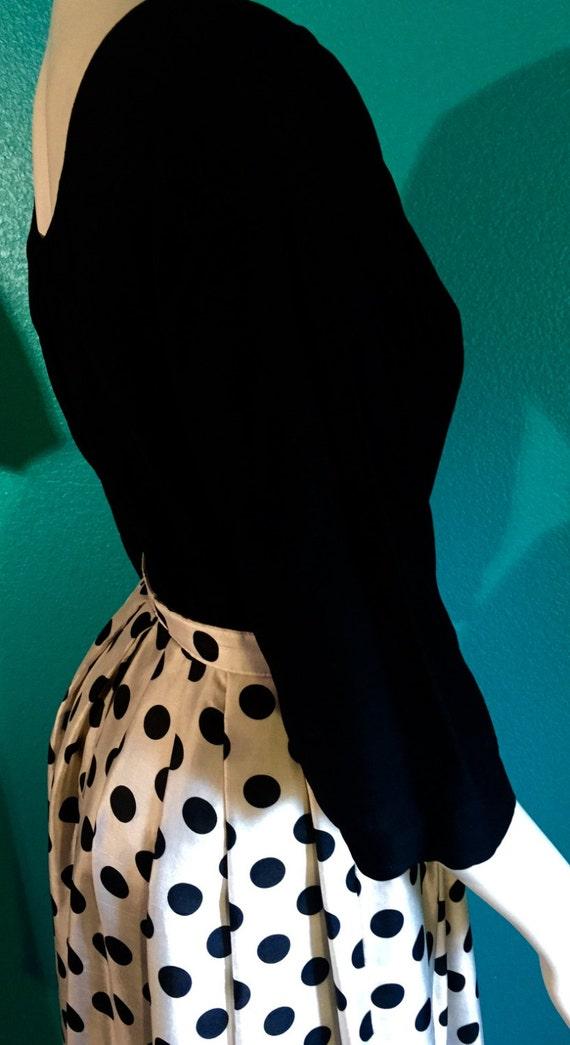 True Mid-century polka dot  Gi Gi Young of New York One Piece Dress Size 6 *Black Top with Black Polka Dot Cream Skirt  58.00