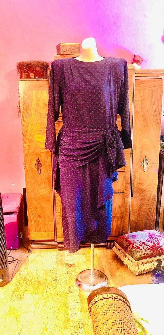 1950's  polka dot black, purple,waist minimizing , drop waist , mid -calf length,   dress  size 9 ,        35.00.