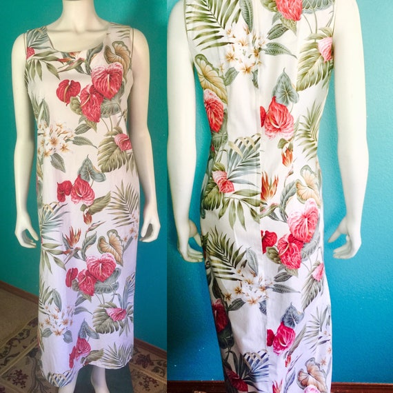 Vintage Surfrider Sportswear  Hawaiian made cotton shift dress.tropical flowers pattern . cotton  s-m tiki vacation,Pool. office party dress