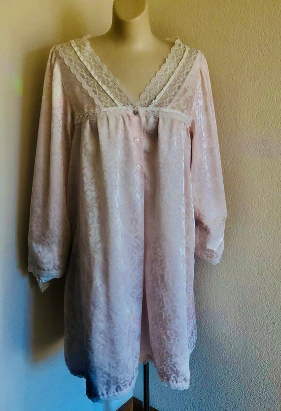 Vintage 1980's Christian Dior knee length nightgown intimate sleepwear icy pink, silky white design white lace and front buttons med-large
