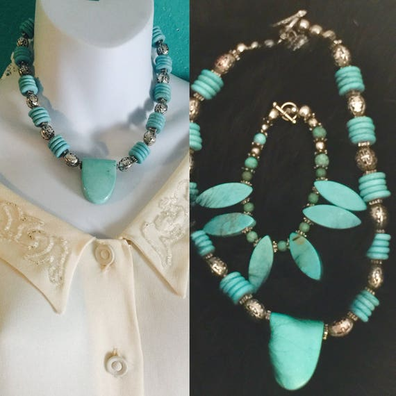 Southwest  Santa Fe made necklace, bracelet, turquoise composite and silver  necklace and bracelet set . 35.00