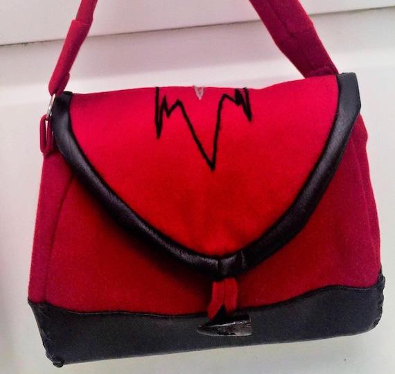 Native American made purse, handbag tote, Native America vintage handmade red Navajo wool with vegan leather black trim . Southwest 55.00