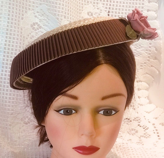 VTG mid-century  plate hat. cream and rippled cho… - image 2
