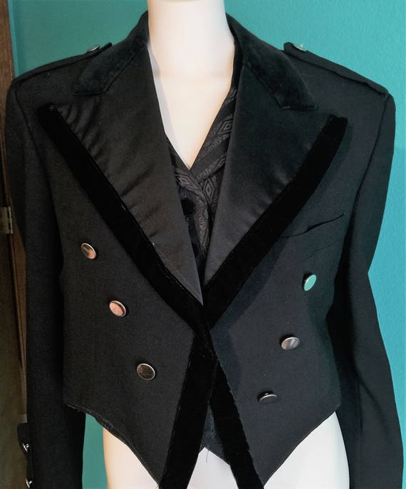 1970's Vintage Black Steam Punk/ BoHo,Gypsy Notch Lapel Short Tailcoat by The Davis Shop in Brooklyn, NY Size 44s Black Steam Punk/ BoHo