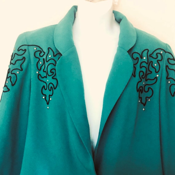 """80s. fancy western, Santa Fe Saddle Ridge blazer,Jacket.long waisted.muted emerald green,"""" piping, studs, silver button.Small"""