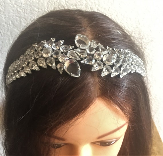 1990's Chez Crystal Greek Goddess Wedding Tiara,Headband,Precise but subtle accessory for your  wedding! 48.00