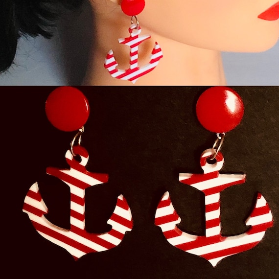Vtg 80s earrings.Pierced,Dangle red and white stripes. Nautical anchor plastic summer,beach,boating , disco,free shipping