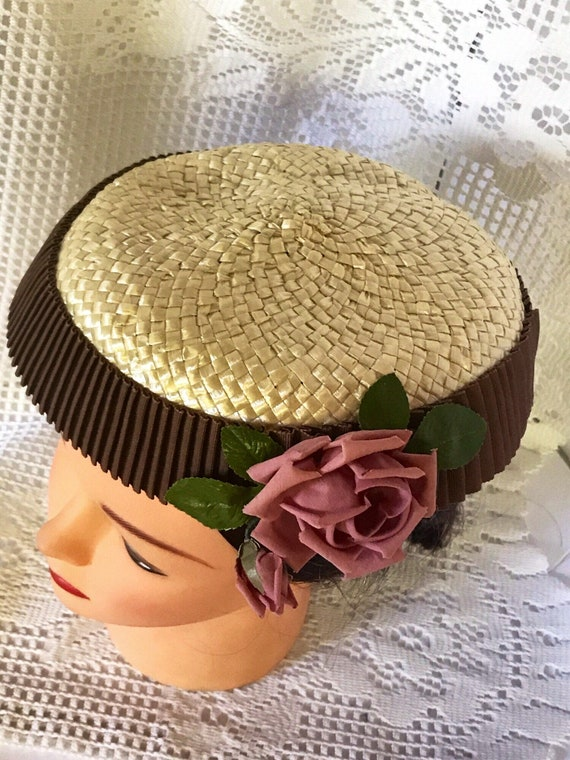 VTG mid-century  plate hat. cream and rippled cho… - image 4