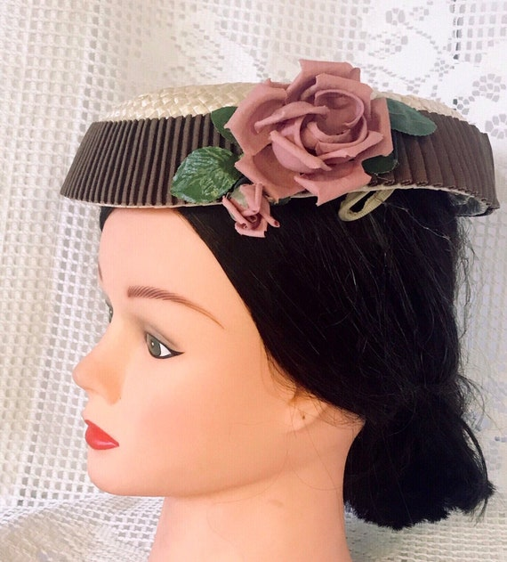 VTG mid-century  plate hat. cream and rippled cho… - image 5