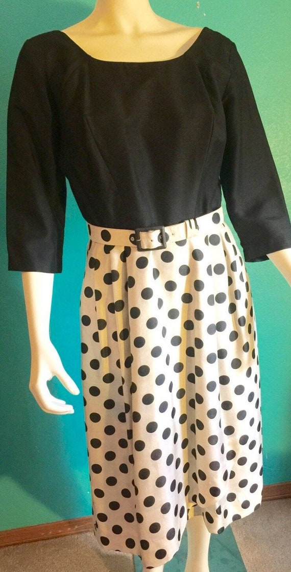 True Mid-century polka dot  Gi Gi Young of New York One Piece Dress Size 6 *Black Top with Black Polka Dot Cream Skirt  58.00