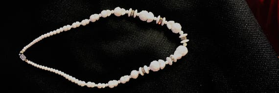 1950's White opaque milk glass choker with 5 sets of  wheel rhinestones 38.00 free shipping