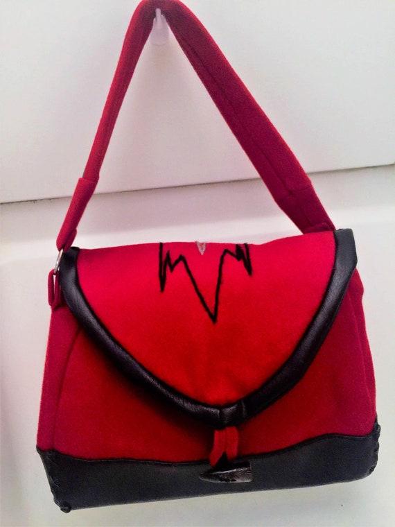 Vintage Santa Fe  Navajo handbag. purse, tote handmade red Navajo wool with vegan leather black trim and native pattern  55.00
