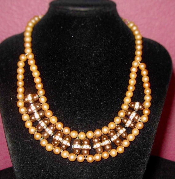 """50's  unique   egyptian revival  gold tone pearl with purple beads and clear rhinestones  accents adjustable  bib  choker necklace 13"""" 30.00"""
