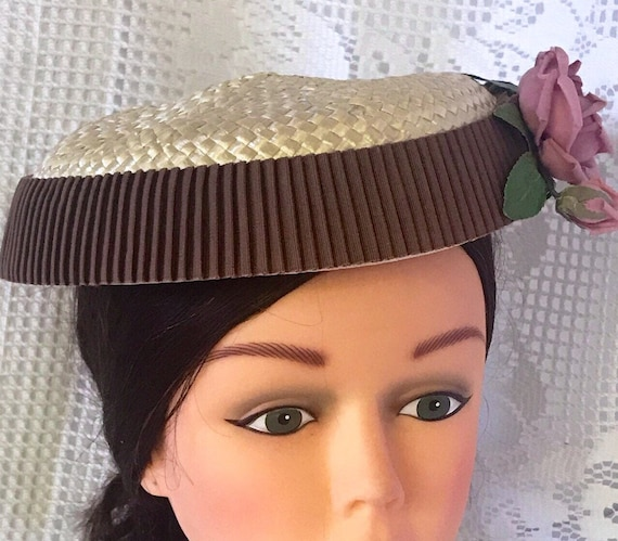 VTG mid-century  plate hat. cream and rippled cho… - image 6