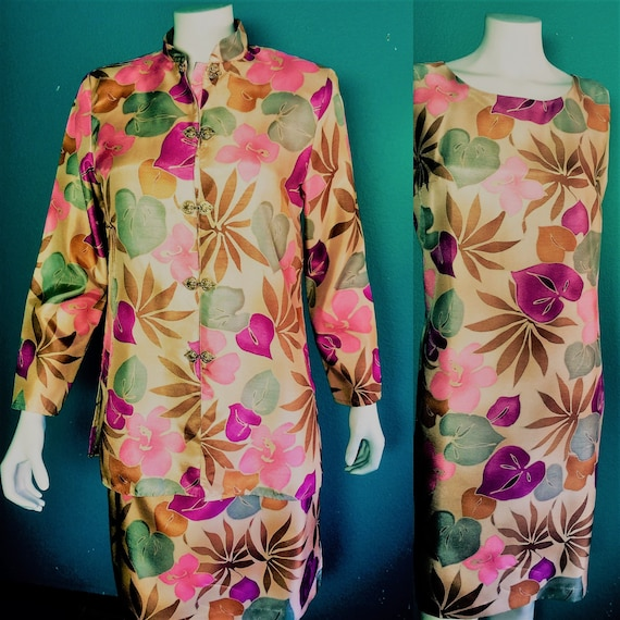 80's Maggie Sweet's  bold shift dress with matching nehru jacket  wild floral print   USA made   outfit size 9-10    40.00