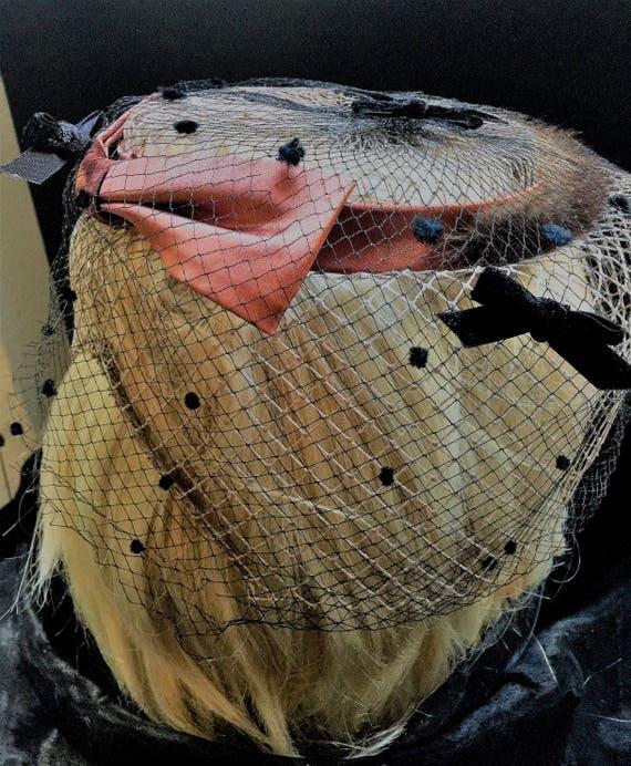1950's Brown Mink round  open top birdcage netting veil  hat with satin bronze ribbon and dark brown  velvet bows    25.00
