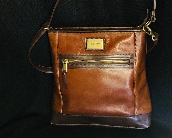 Vintage Tignanello two toned brown leather women's crossbody purse with attached wallet on the outside of the handbag