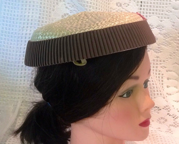 VTG mid-century  plate hat. cream and rippled cho… - image 3