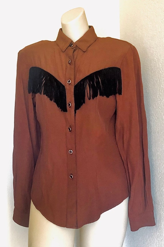 80's womens Roughrider Rodeo western Santa Fe country western brown/black fringe shirt. Small