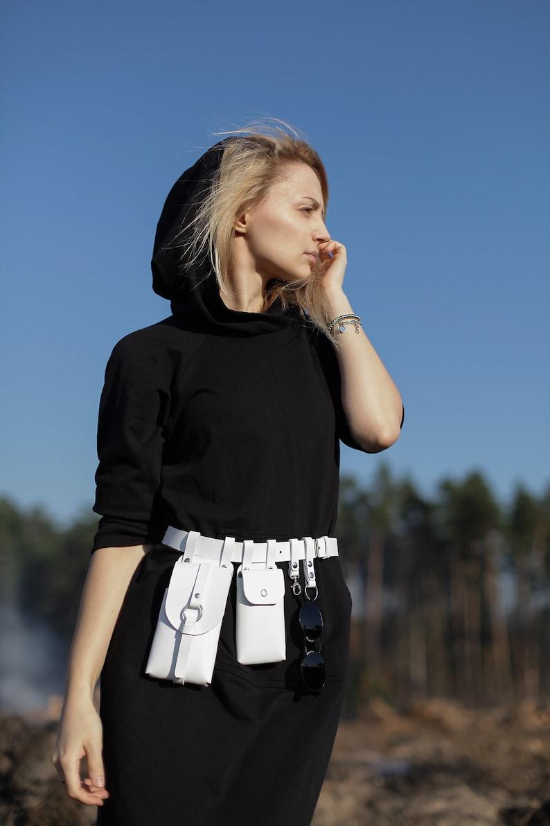 Black Leather Pouch Belt Bag Leather unisex belt bag Travel hip bag with pockets /& pouches