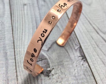 Cuff bracelet, copper bracelet, brass cuff, aluminum cuff, hand stamped jewelry, hand stamped cuff, I love you to the moon and back.