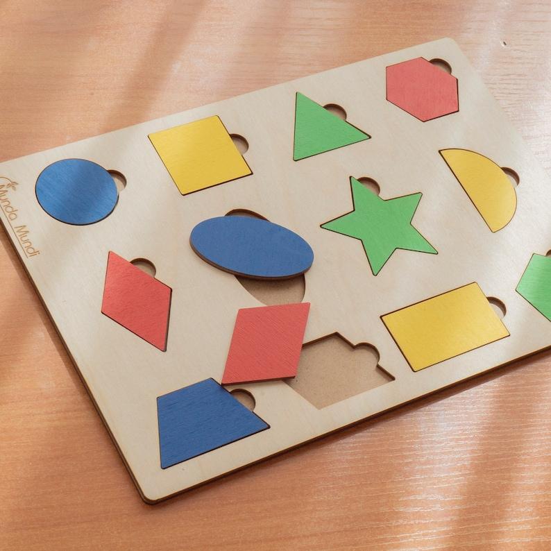 Early Learning wooden geometric puzzle Block Montessori Set Sorting Board Puzzle Educational Geometric Blocks