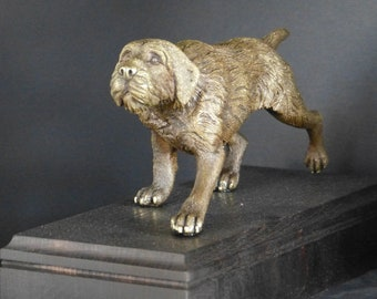 German Wirehaired Pointer Bronze sculpture. Fixed on oak base.