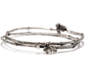 Twig Branch Jewelry, Silver Twig Bracelet, Valentines, Stackable Bracelets, Nature Inspired Bracelets, Woodland Bracelet, Gift for Her