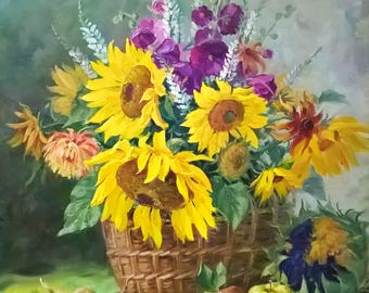 Oil painting Still life painting Sunflower wall art Bouquet painting Sunflower painting Yellow Wall Art Large art Kitchen decor wall art
