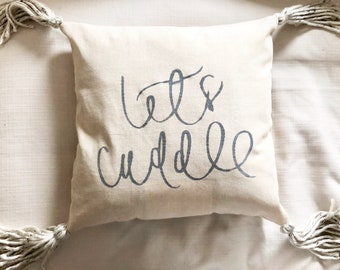 Let's cuddle throw pillow cover with beige tassels, let's snuggle, cute throw pillow for bed, mr and mrs, pillow for couch, let's cuddle