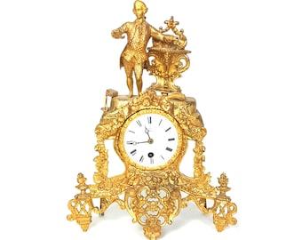Kostenloser Versand USA U0026 Kanada   Antike Henry Marc Französisch  Vergoldeter Mantel Uhr Frankreich Gold Messingbeschläge Kamin Dekor  Verzierten Rokoko Louis ...
