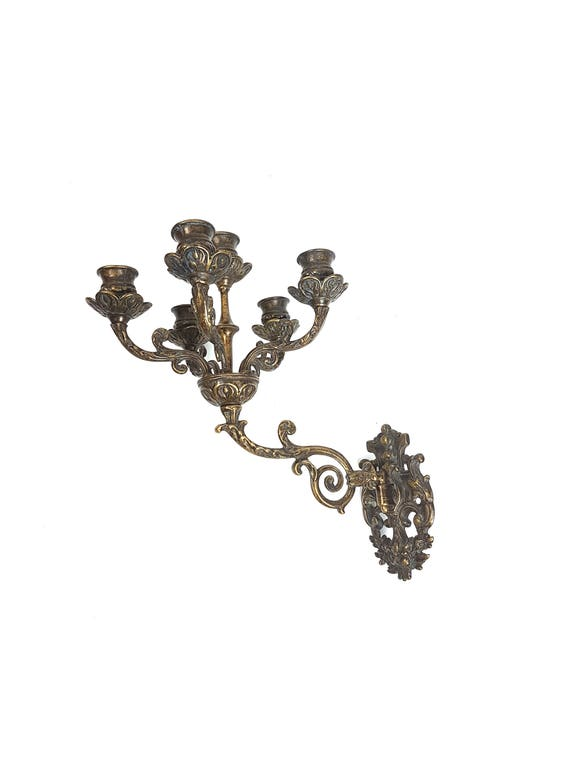 Free Shipping USA & Canada Vintage Wall Sconce Candelabra Candle Holder Candlestick Brass Ornate Hanging Fixture Baroque Rococo Antique