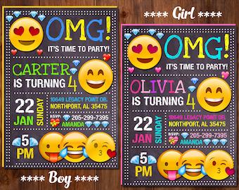 Emoji Invitation Birthday Party Girl Boy Smile