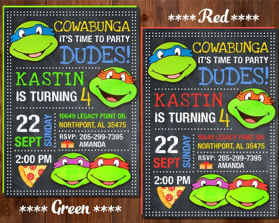 Ninja Turtle Invitation Ninja Turtles Party Tmnt Etsy