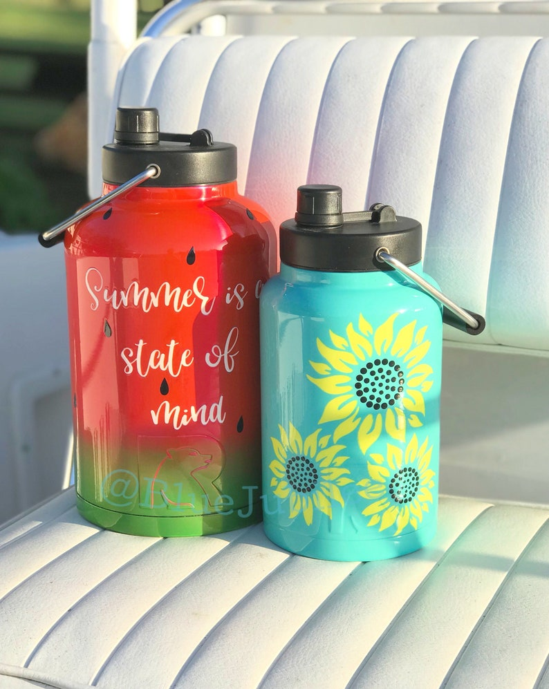 SUNFLOWERS!! 1/2 or 1 gallon RTIC stainless ateel jugs- Powder coated and  Personalize with your name! Lid comes with drink spout and handle